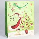 Dárková vánoční taška zelená (26 x 32 x 10 cm)