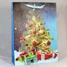 Dárková vánoční taška modrá (26 x 32 x 12 cm)