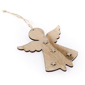 Dřevěný závěsný anděl se stříbrnými doplňky