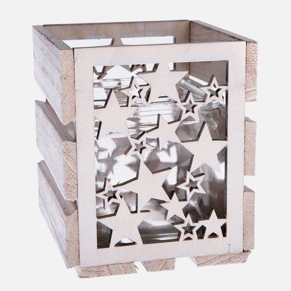 Dřevěný svícen - Hvězdy