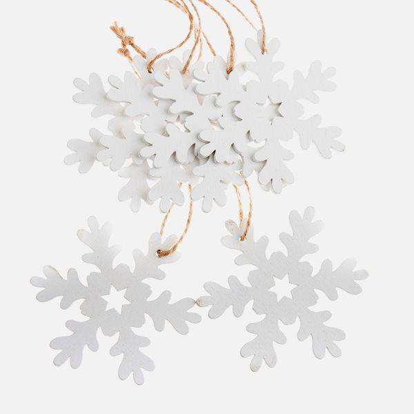 Závěsné vánoční ozdoby 6 ks - Vločky bílé