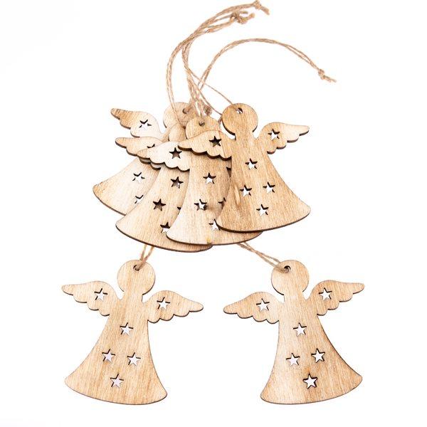 Závěsné vánoční ozdoby 6 ks - Andílci přírodní