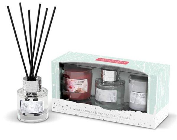 Albi Vánoční sada difuzér a dvě mini svíčky Heart & Home