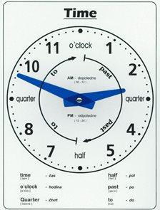 Školní hodiny kartonové - v angličtině