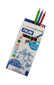 Milan Pastelky dřevěné pogumované - 12 barev, trojhranné