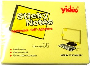 Samolepicí bloček 100 × 75 mm 100 listů - žlutý