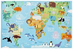 Dětský koberec Mapa světa Torino Kids - 80 x 120 cm