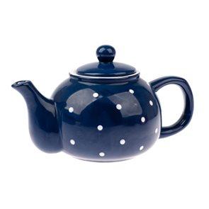 Keramická čajová konvička 1 l s puntíky - modrá