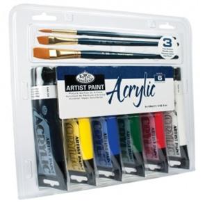 Akrylové barvy ROYAL & LANGNICKEL - 6x75 ml + 3x štětec