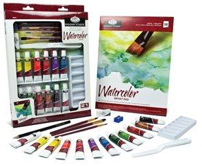 Akvarelové barvy Royal & LANGNICKEL - 12 x 12 ml + příslušenství