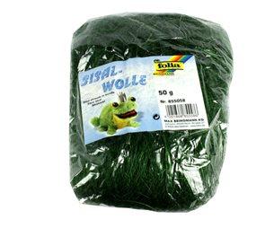 Sisalové vlákno 50 g - barva zelená tmavá