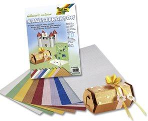 Barevný papír metalíza 23×33 cm - motiv mřížka, mix 10 barev