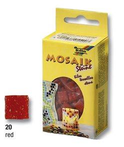 Mozaikové kamínky - skleněné - barva červená
