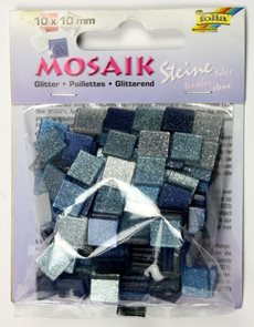 Mozaikové kamínky - se třpytkami - barva modrá