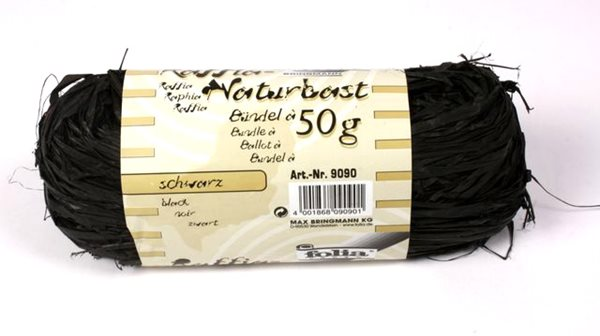 Přírodní lýko - 50 g - barva černá