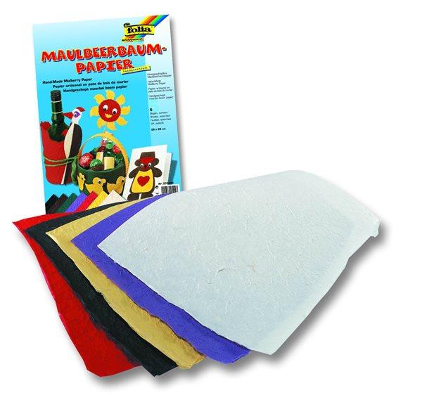 Morušový papír, 100 g/m2, ruční papír se strukturou, - 25 x 38 cm, 5 listů v 5 barvách, Sleva 15%