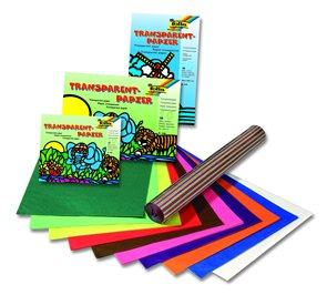 Transparent papír - na výrobu papírových draků - 50×70 cm, 100 listů, různé barvy, role