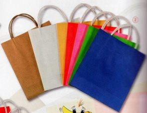 Papírové tašky se silnými uchy - 20 kusů (4 kusy od barvy žluté, červené, růžové, zelené a modré)