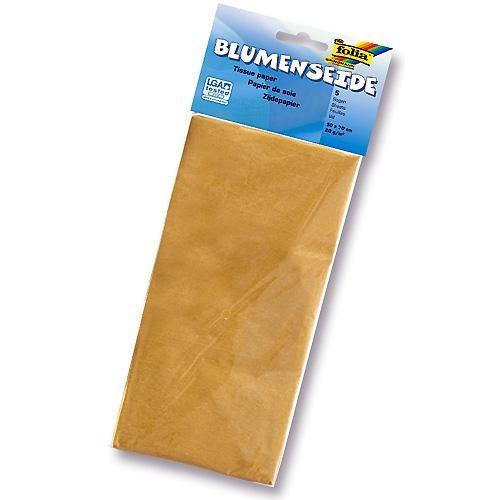Hedvábný papír 50x70 cm, 20 g/m, složený na 25x35 cm, 5 listů, barva zlatá