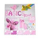 Origami papír Basics 80g/m2 - 10 x 10 cm, 50 archů - růžový