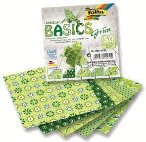 Origami papír Basics 80g/m2 - 10 x 10 cm, 50 archů - zelený