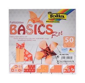 Origami papír Basics 80g/m2 - 15 x 15 cm, 50 archů - červený