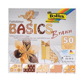 Origami papír Basics 80g/m2 - 15 x 15 cm, 50 archů - hnědý