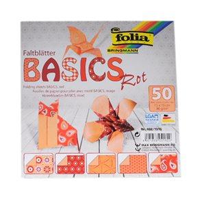 Origami papír Basics 80g/m2 - 20 x 20 cm, 50 archů - červený
