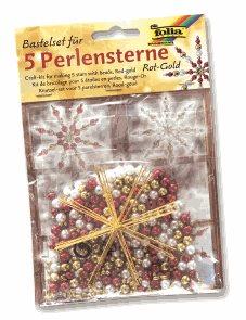 Sada na výrobu hvězd z perliček - červená/zlatá/perleťová