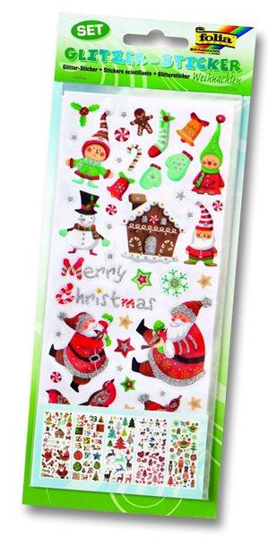 Samolepky s třpytkami - Vánoce - 5 listů