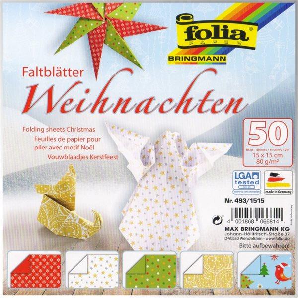 Origami papír Vánoce - 80g/m2 - 15 x 15 cm, 50 archů