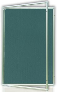 Vitrína interiérová 90x120 cm, vertikální otevírání uzamykatelné, modrý filcový povrch