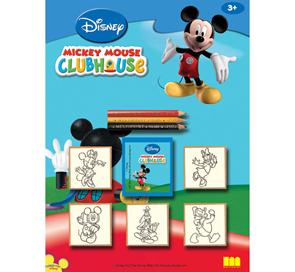 Dřevěná razítka - Micky Mouse - 5 ks + pastelky