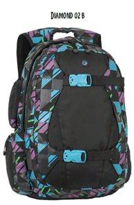 Studentský batoh DIAMOND 02 B - černo-modro-růžová