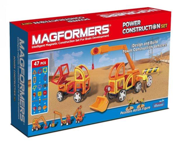Power Construction ( stavební auta PLUS) - Magformers - magnetická stavebnice 47 dílů, Doprava zdarma