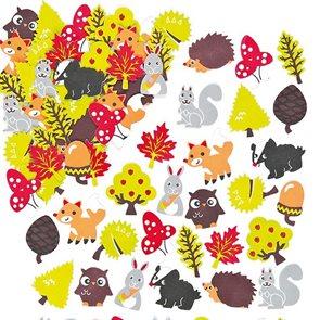 Samolepky pěnové - Podzimní les 100 ks