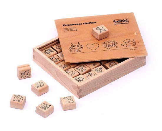Dřevěná rozlišovací razítka pro mateřské školky /zvířátka/ - 3 x 3 x 1,5 cm