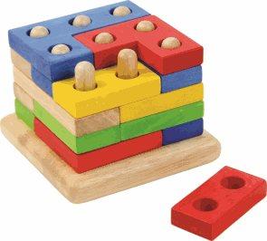 Skládací kostka na tyčkách / didaktická stavebnice/