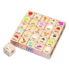 Dřevěné ABC kostky pro výuku angličtiny