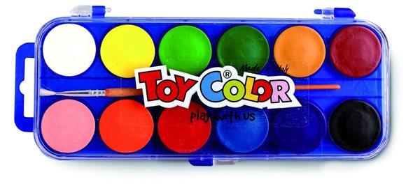 Vodové barvy TOY COLOR 30 mm - 12 barev
