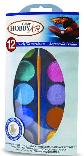 Vodové barvy Hobby Art - perleťové - 12 barev