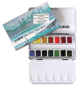 Sada akvarelových barev v kovovém boxu - 14 x 1/2 pánviček