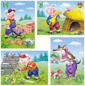 Puzzle - O třech prasátkách sada 4 v 1  ( 8, 12, 15 a 20 dílků) velikost obrázku 32× 32 cm