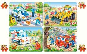 Puzzle - Auta sada 4 v 1  ( 8, 12, 15 a 20 dílků) velikost obrázku 32× 32 cm