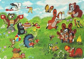 Pěnové puzzle Krtek 12 dílků, velikost obrázku 29×21 cm