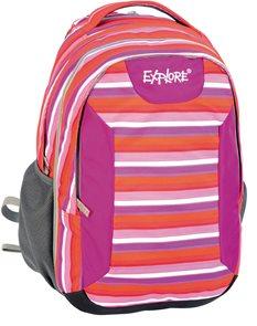 Školní batoh EXPLORE - Surfing stripes - červený