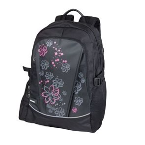Školní batoh Easy - černý s růžovými květy