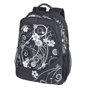 Sportovní batoh Easy - černý s bílými květy