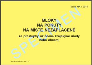 Bloky na pokuty na místě nezaplacené za přestupky ukládané krajskými úřady nebo obcemi 466100/1