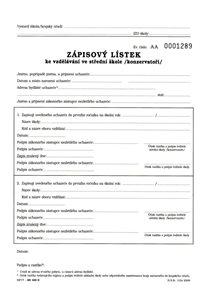 Zápisový lístek ke vzdělávání na SŠ